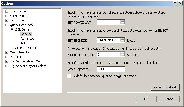 SQL Server || Change Batch separator - SQLServerCentral