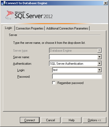 SSMS 2012 || Connect to Server (Additional Connection