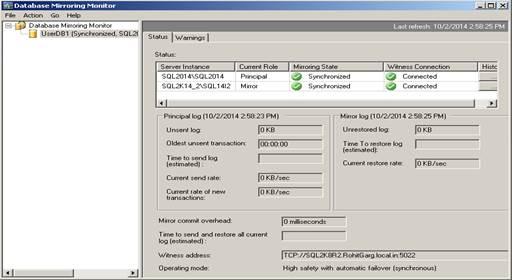 sql server database mirroring monitoring sql server